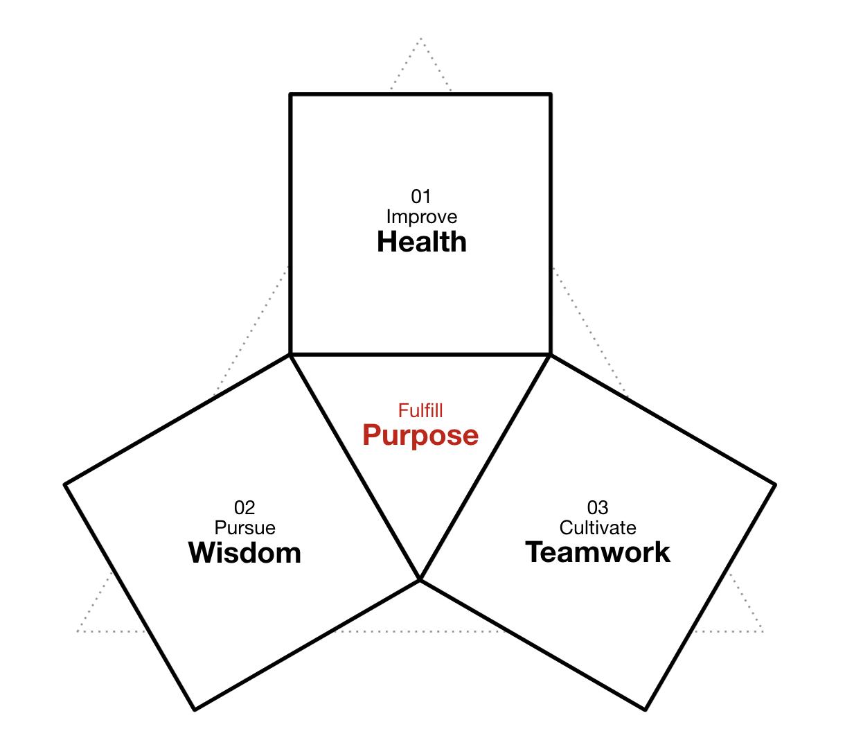 Core Values of Pixel Dreams Team: Improve Health. Pursue Wisdom. Cultivate Teamwork.